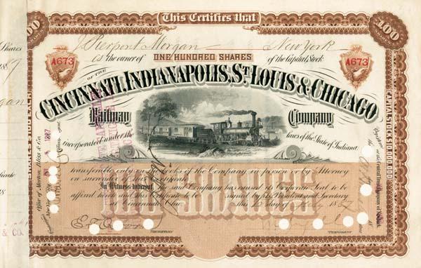 J. Pierpont Morgan - Cincinnati, Indianapolis, St. Louis and Chicago Railway - Stock Certificate