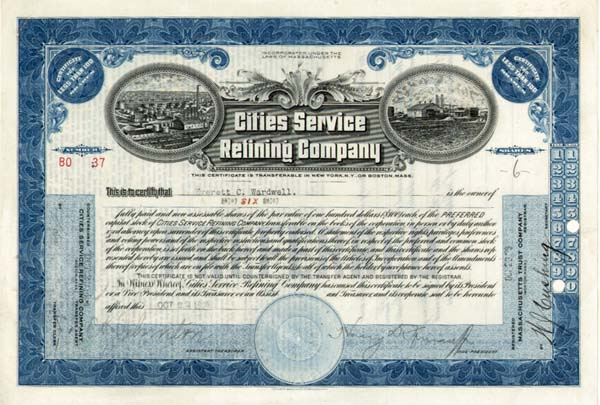 Cities Service Refining Co - Stock Certificate - SOLD