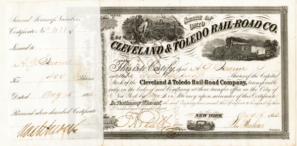 Cleveland & Toledo Railroad signed by Addison G. Jerome - Stock Certificate