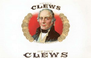 "Cigar Box Label ""Henry Clews"""