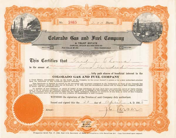 Colorado Gas & Fuel Co - Stock Certificate