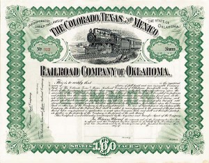Colorado, Texas and Mexico Railroad Company of Oklahoma  - Stock Certificate