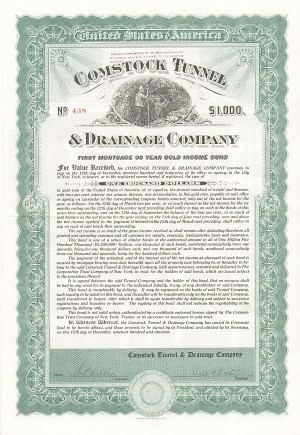 Comstock Tunnel & Drainage Company - $1,000 - Bond