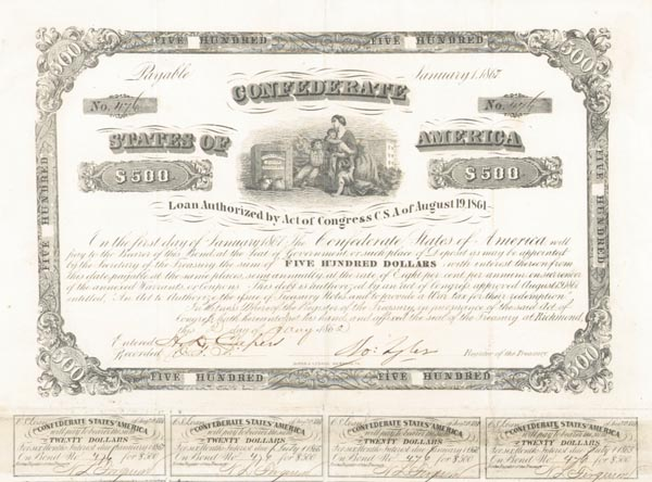 Confederate $500 Bond