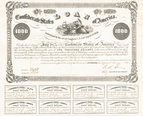 Confederate $1,000 Bond - SOLD