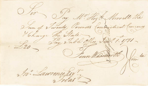 """Connecticut Currency"" - Revolutionary War Pay Order"