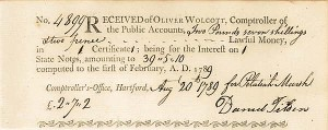 Receipt of Lawful Money from Oliver Wolcott