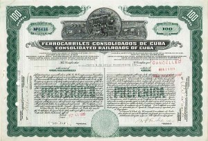 Ferrocarriles Consolidados De Cuba - Consolidated Railroads of Cuba issued to Cecil B. De Mille Productions Inc. signed by Cecil B. DeMille - Stock Certificate