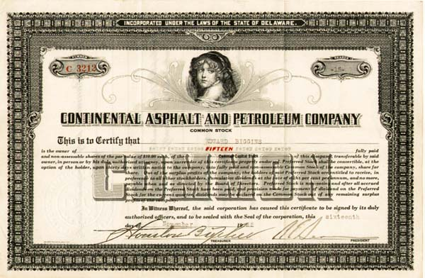 Continental Asphalt and Petroleum Company - Stock Certificate