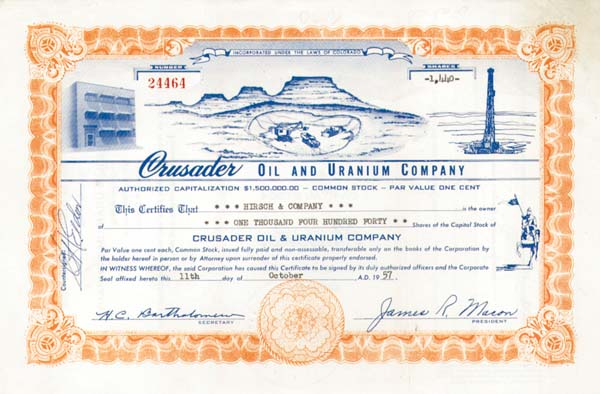 Crusader Oil and Uranium Company - Stock Certificate