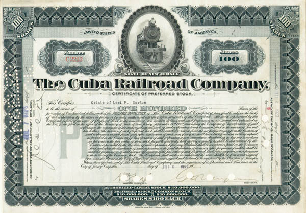 Levi P. Morton - Cuba Railroad Co - Stock Certificate