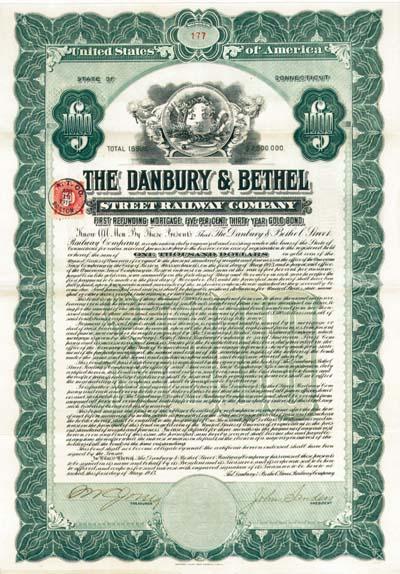 Danbury & Bethel Street Railway Company - $1,000 - Bond