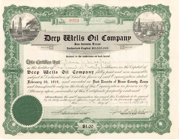 Deep Wells Oil Co - Stock Certificate - SOLD
