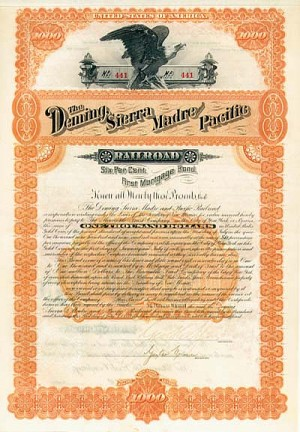 Deming, Sierra Madre and Pacific Railroad - $1,000 - Bond