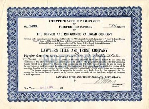 Denver and Rio Grande Railroad Company - SOLD