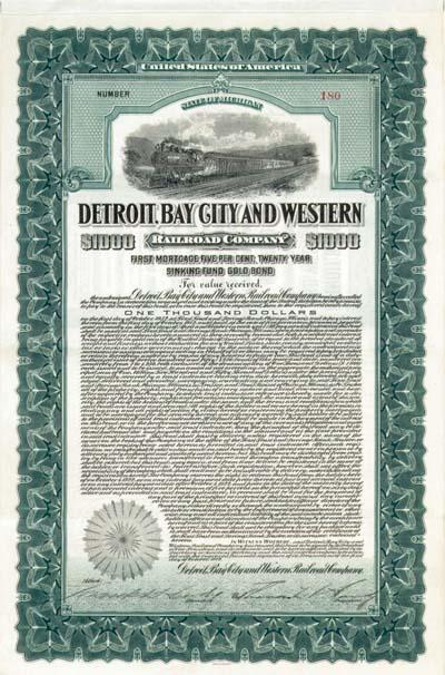 Detroit, Bay City and Western Railroad - Bond