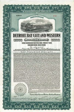 Detroit, Bay City and Western Railroad - Bond