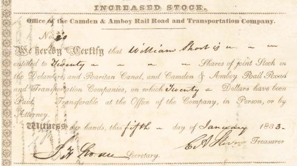 Edwin Augustus Stevens - Camden and Amboy Railroad and Transportation Co - Stock Certificate