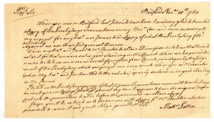 1762 Bedford Massachusetts Letter