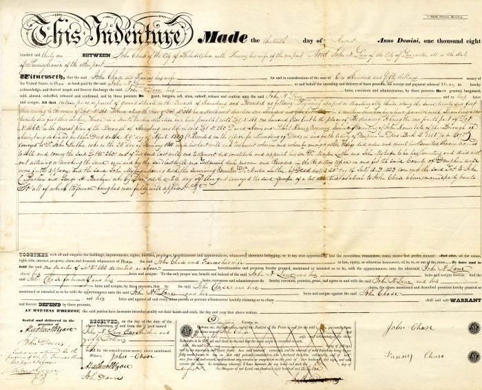 1831 Indenture Deed for Land
