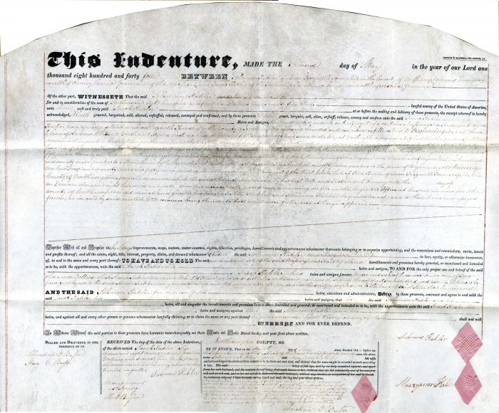 1844 Indenture Deed for Land