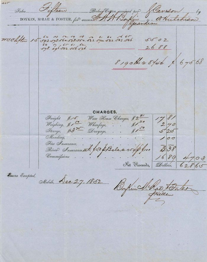 1852 Sale of Cotton Receipt from Alabama