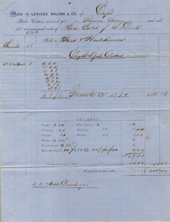 1856 Bill of Sale for Cotton