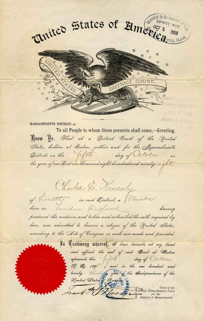 Citizenship Certificate - 1898
