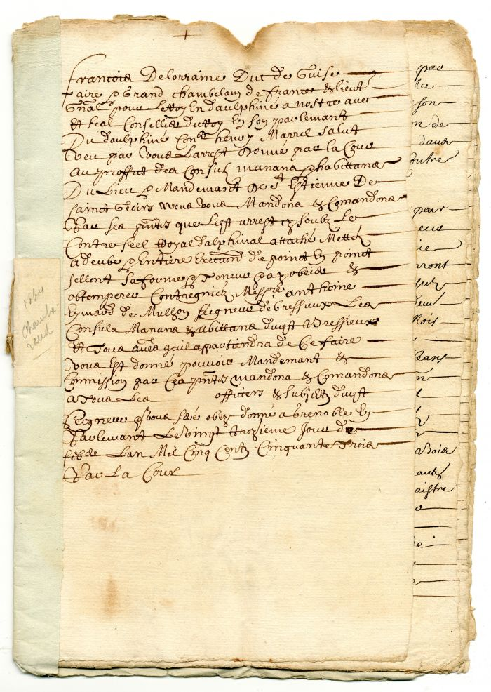 1664 French Document - Early Stocks and Bonds