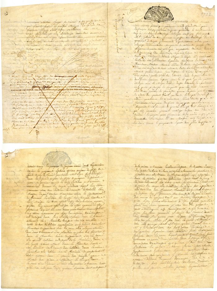 1722 French Document - Early Stocks and Bonds