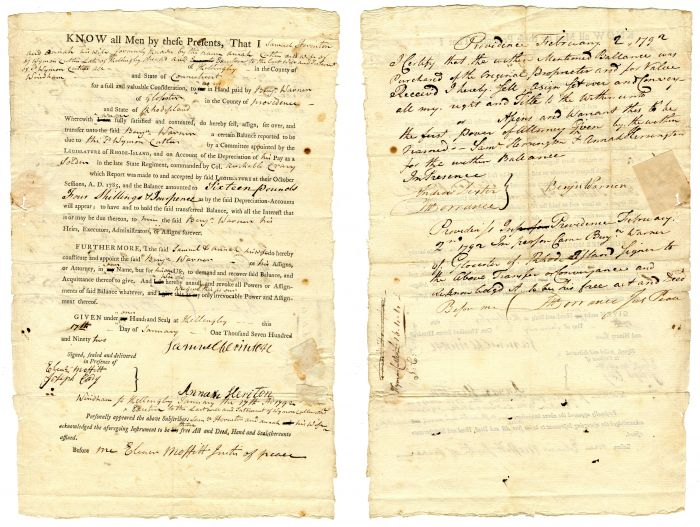 1792 Revolutionary War Document - Soldier's Claim for the Balance due Him