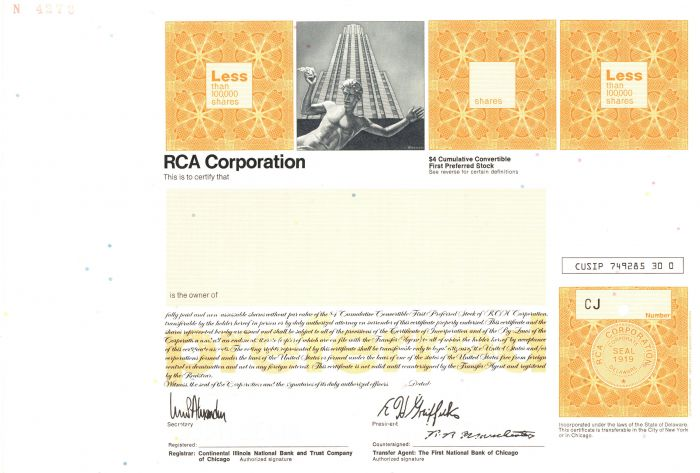 RCA Corporation Specimen