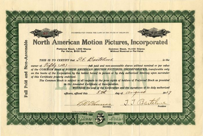 North American Motion Pictures, Incorporated