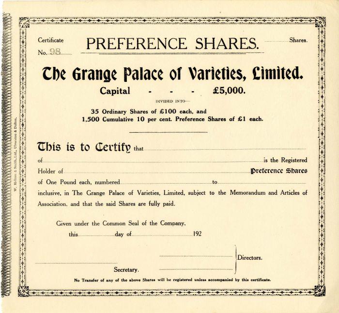 Grange Palace of Varieties, Limited