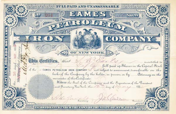 Eames Petroleum Iron Company of New York - Stock Certificate