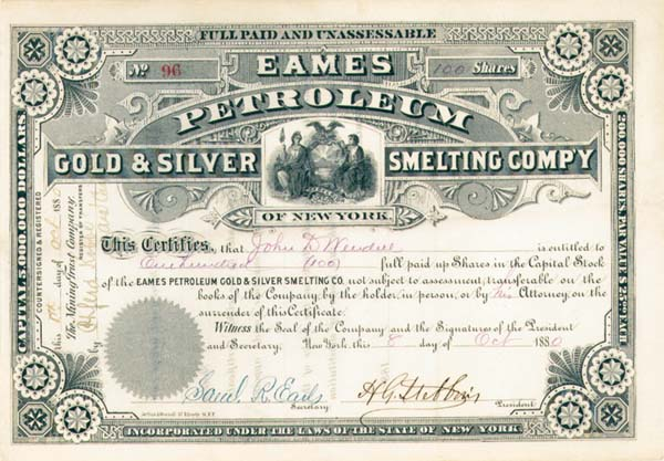 Eames Petroleum Gold and Silver Smelting Company of New York - Stock Certificate (Uncanceled)