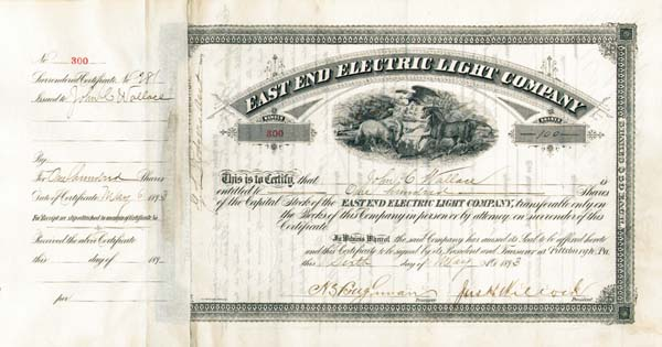 George W. Westinghouse - East End Electric Light Co - Stock Certificate
