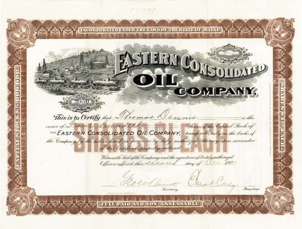 Eastern Consolidated Oil Co - Stock Certificate