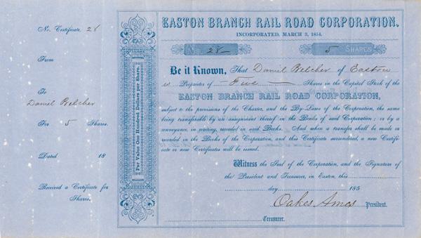 Oakes Ames - Easton Branch Railroad - Stock Certificate