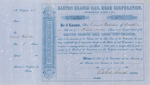 Oakes Ames - Easton Branch Railroad - Stock Certificate
