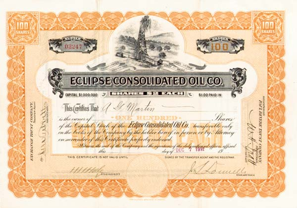 Eclipse Consolidated Oil Co. - Stock Certificate
