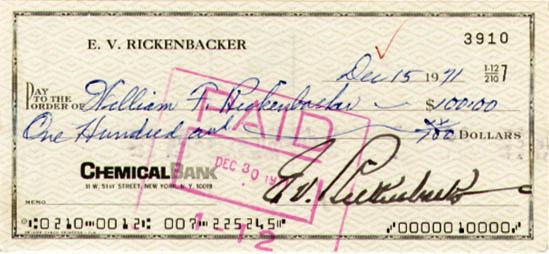Eddie Rickenbacker signed Check