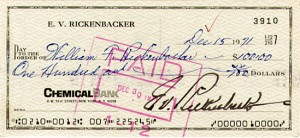 Eddie Rickenbacker signed Check