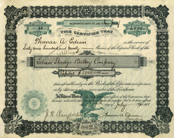 Edison Storage Battery Company - Signed twice by Thomas Edison - Stock Certificate - SOLD