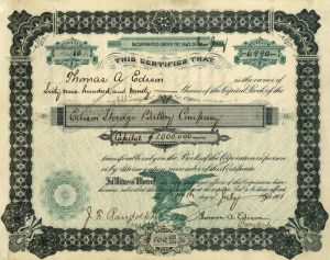 Edison Storage Battery Company - Signed twice by Thomas Edison - Stock Certificate