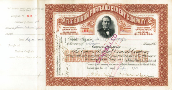 Miller - Edison Portland Cement Co - Stock Certificate