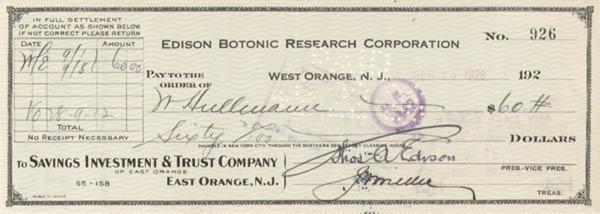Edison Botonic Research Corporation signed by Thomas Alva Edison