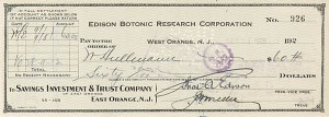 Edison Botonic Research Corporation signed by Thomas Alva Edison