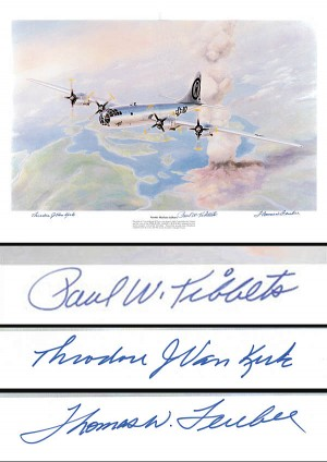 Paul W. Tibbets, Thomas W. Ferebee and Theodore J. Van Kirk signed Enola Gay Print