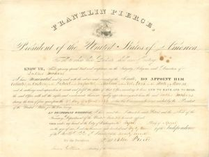 Franklin Pierce signed Appointment to Luther Junkins as Collector of the Customs for the District and Inspector of the Revenue for the Port of York in the State of Maine - SOLD